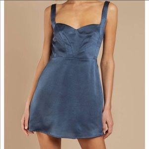 Tobi Navy Blue Satin Dress NWT XS